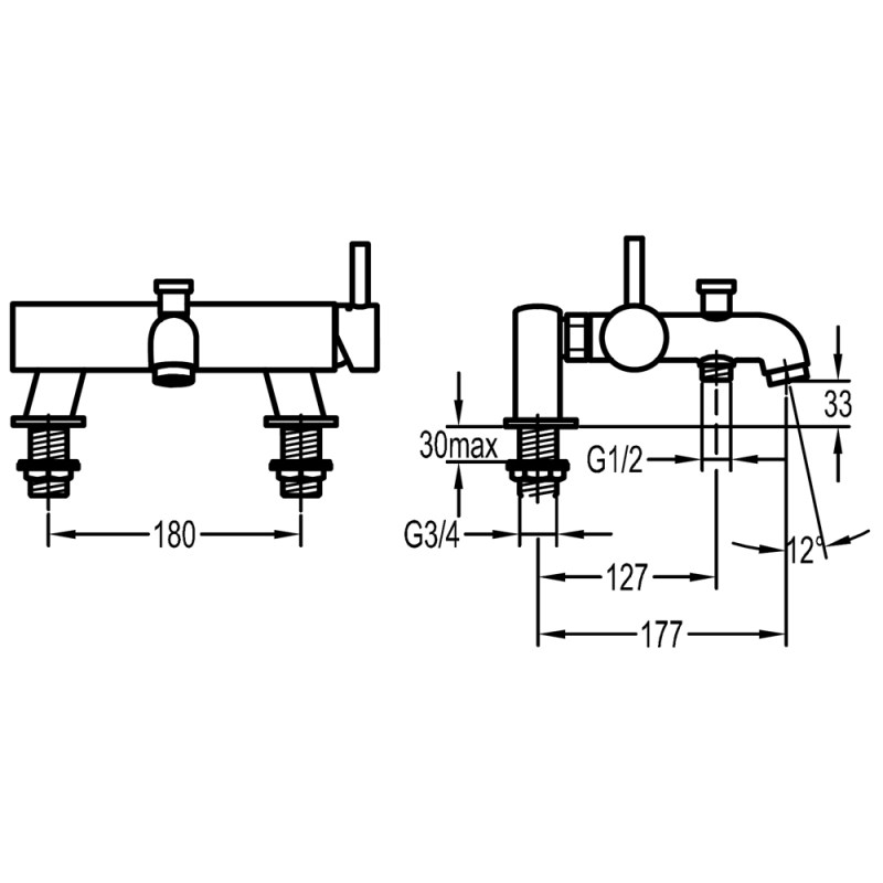 Flova Levo Wall Mounted Manual Bath Shower Mixer with Handset