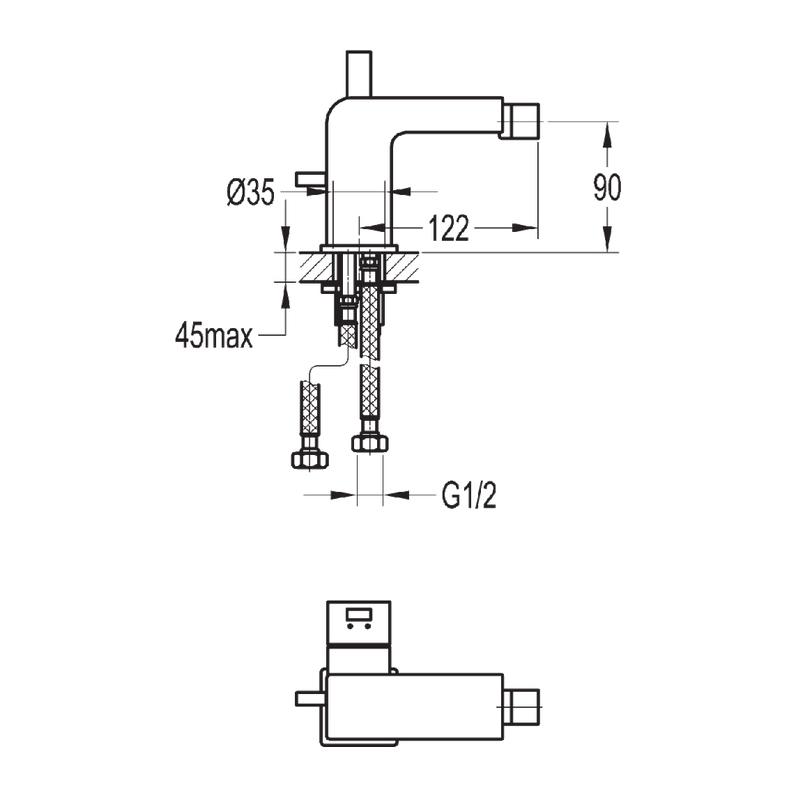 Flova Str8 Single Lever Bidet Mixer with Clicker Waste