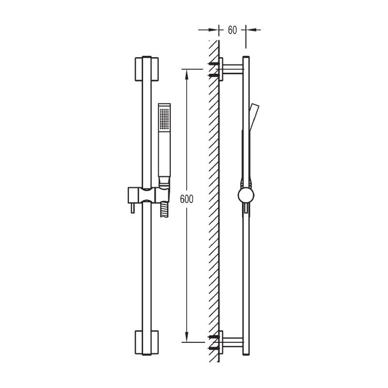 Flova Str8 Slide Rail Set with Handset & Hose