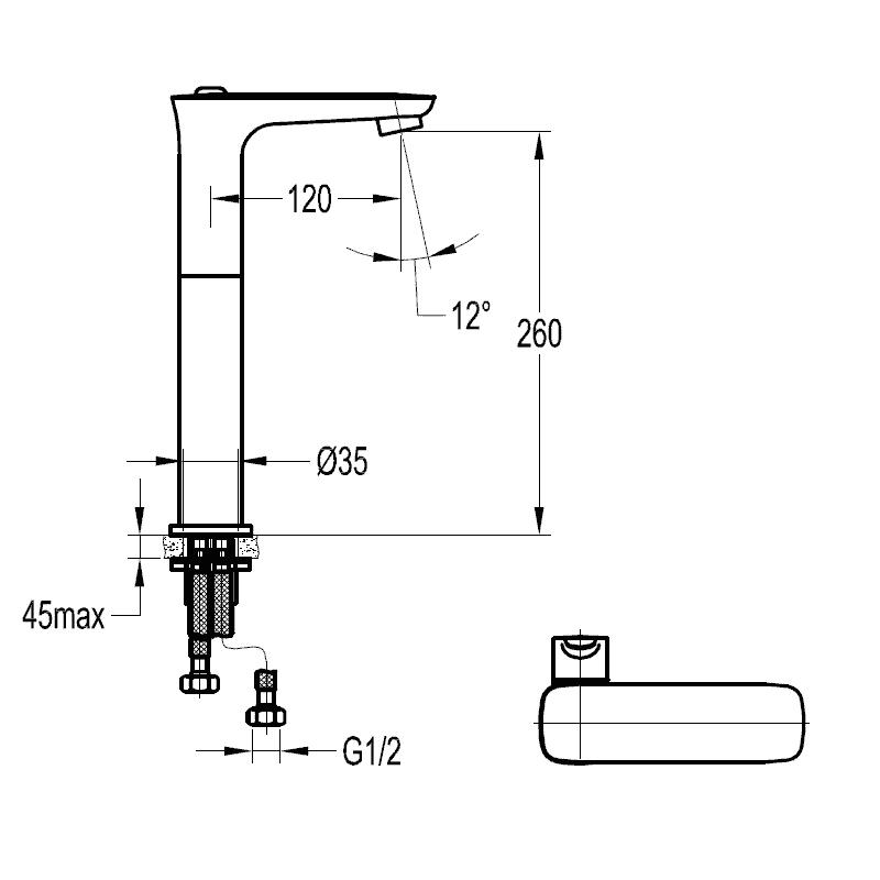 Flova Urban Tall Single Lever Basin Mixer with Clicker Waste