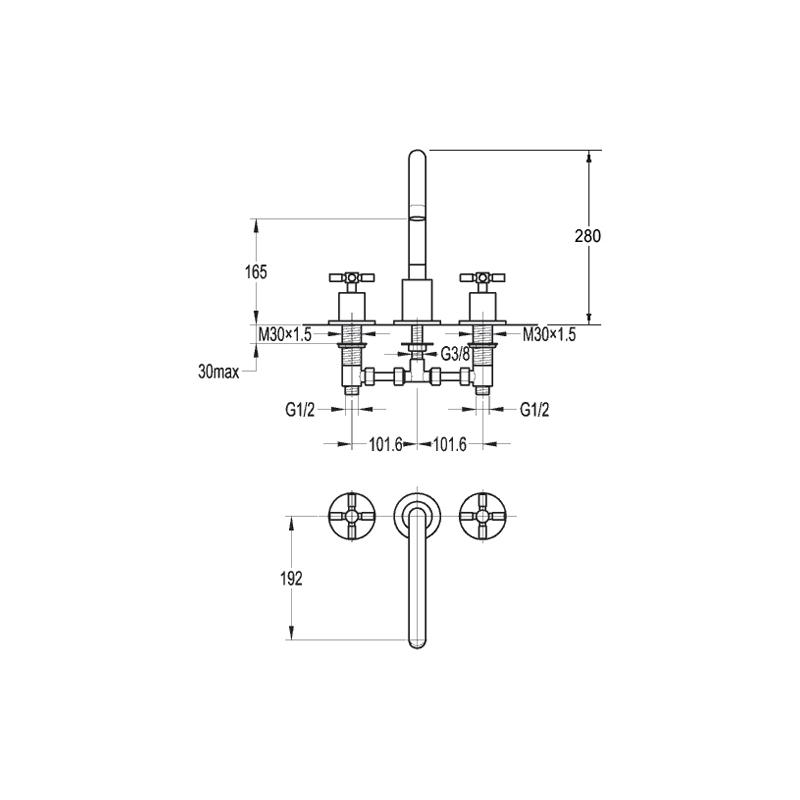 Flova XL 3-Piece Bath Mixer