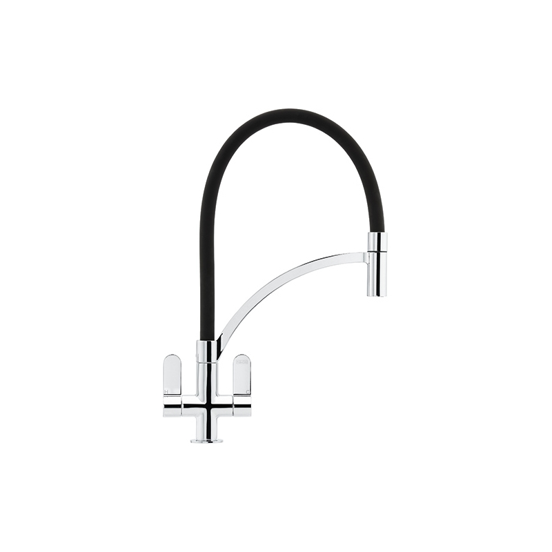 Franke Zelus Kitchen Sink Mixer with Pull Out Nozzle Chrome-Black
