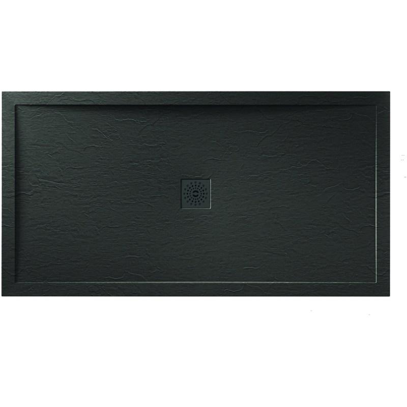 Aquaglass 1000x900mm Black Slate Effect Shower Tray