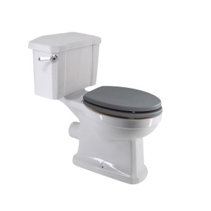 Frontline Holborn Close Coupled Toilet with Grey Wooden Seat