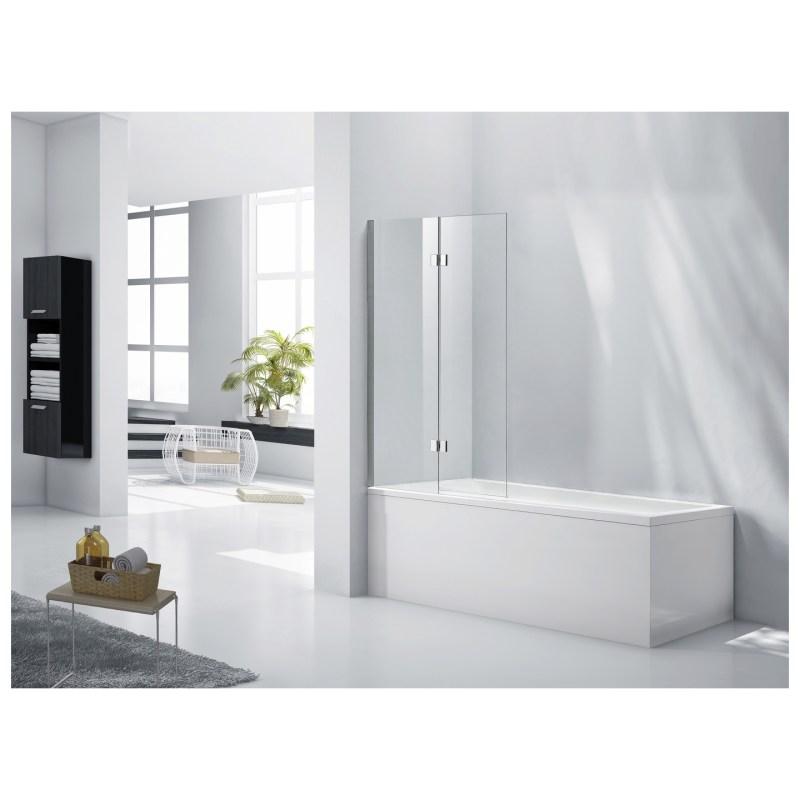 Aquaglass 6mm 2 Panel Bath Screen with Fixed Screen & Hinged Panel