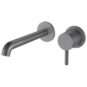 Aquaflow Mineral Wall Mounted Basin Mixer Brushed Steel