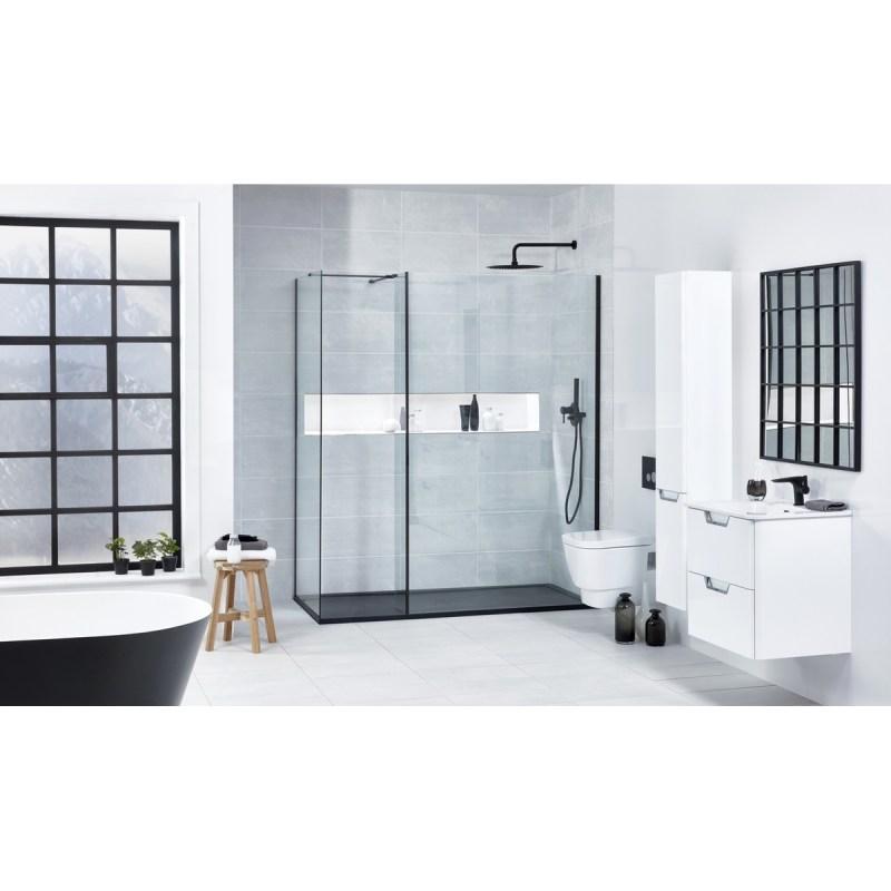Aquaglass  Black L Shape Walk-In Shower Enclosure 1000mm
