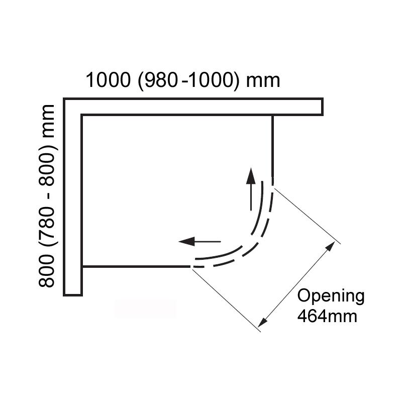 Aquaglass  Drift Offset Quadrant Shower Enclosure 1000x800mm