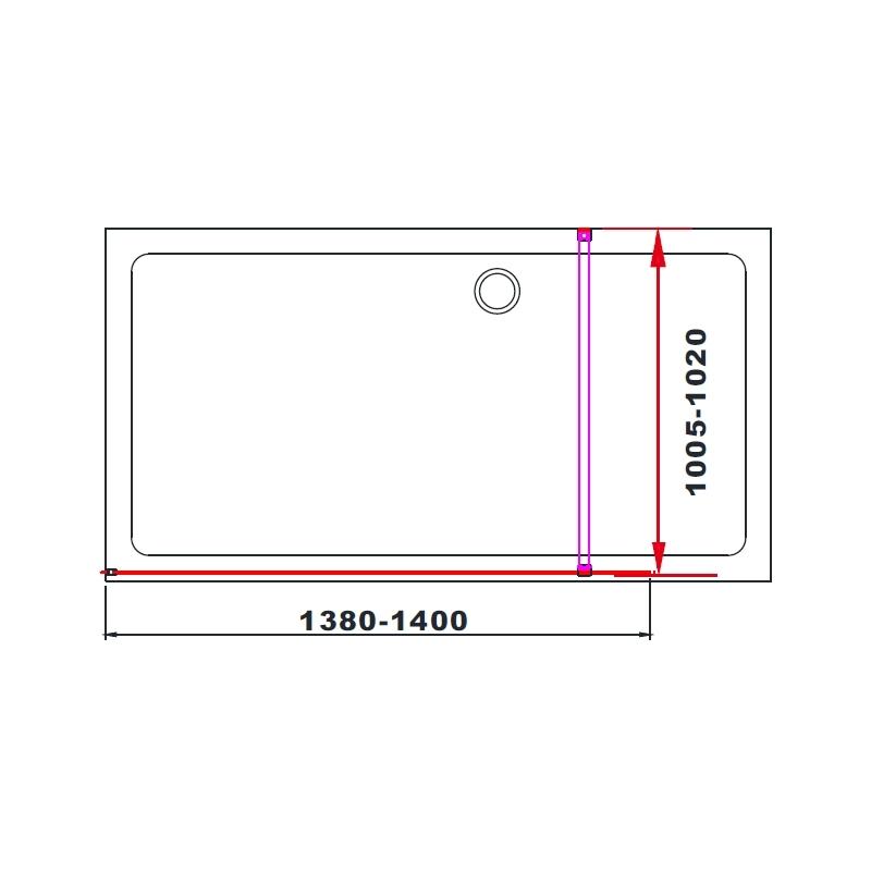 Aquaglass  Black 1400mm Walk-In Front Panel 10mm Clear Glass