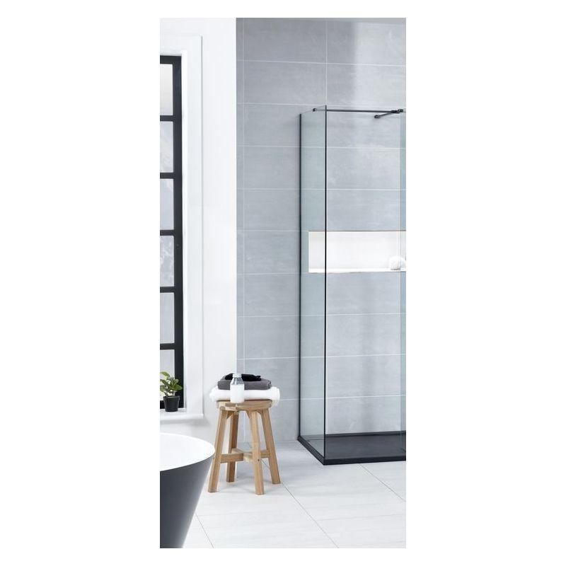 Aquaglass  Black L Shape Walk-In 800mm Side Panel
