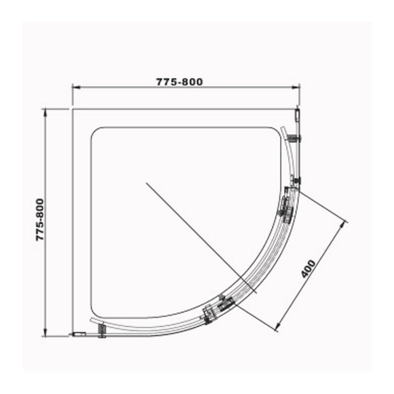 Aquaglass  Sphere 800x800mm 1 Door Quadrant