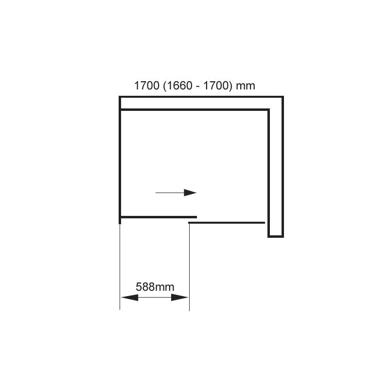 Aquaglass  Frameless 1700mm Sliding Shower Door
