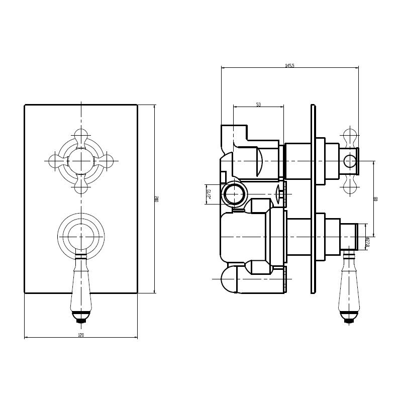 Holborn Edwardian Square Concealed Thermostatic Shower Valve