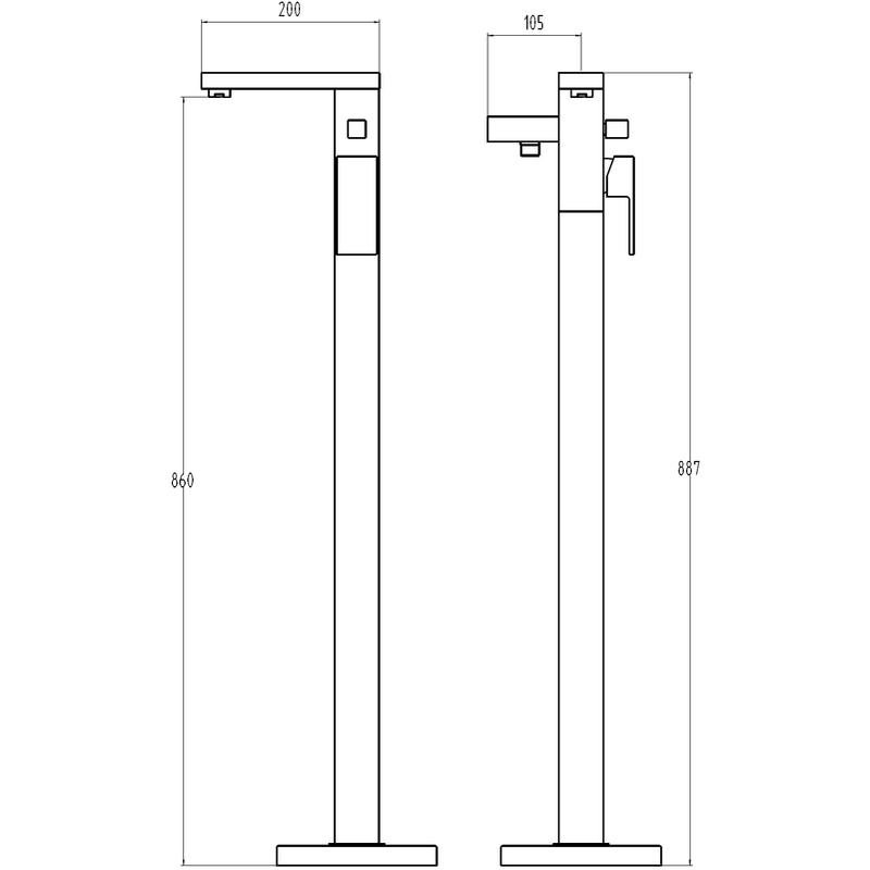Aquaflow Ixos Freestanding Bath Shower Mixer