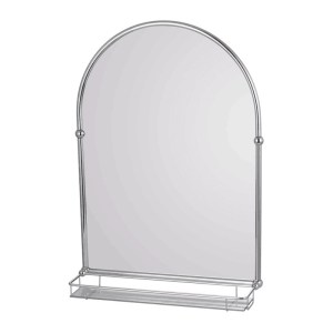 Holborn Traditional Arched Mirror with Glass Shelf Chrome