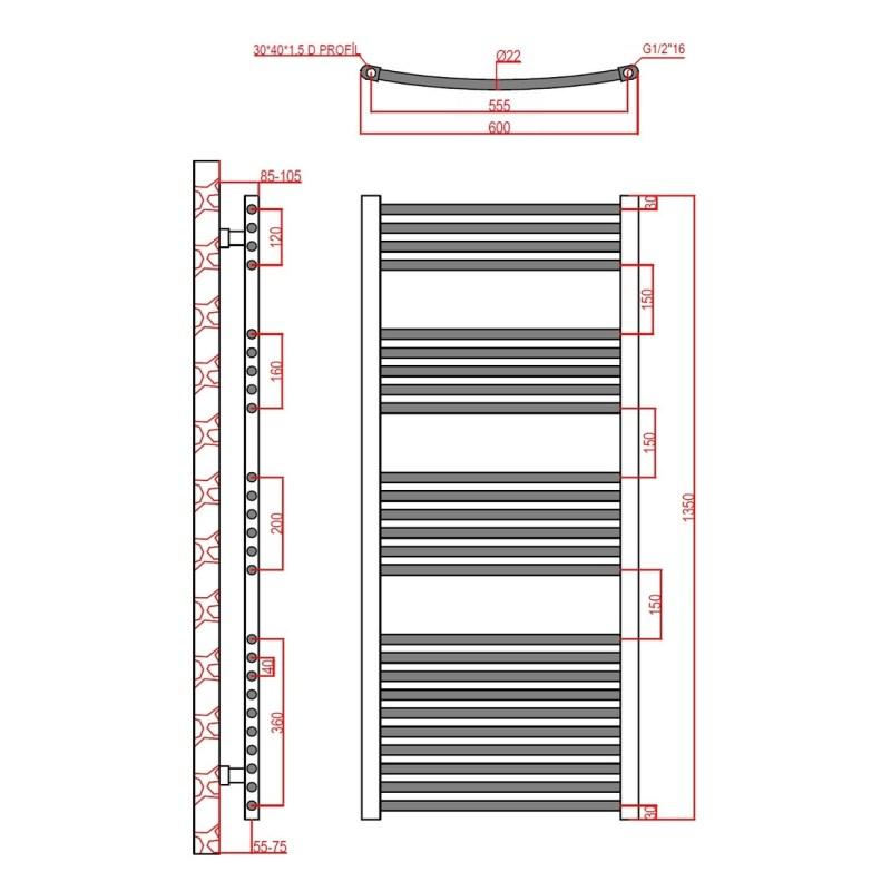 Frontline Curved Towel Rail 600x1350mm Chrome