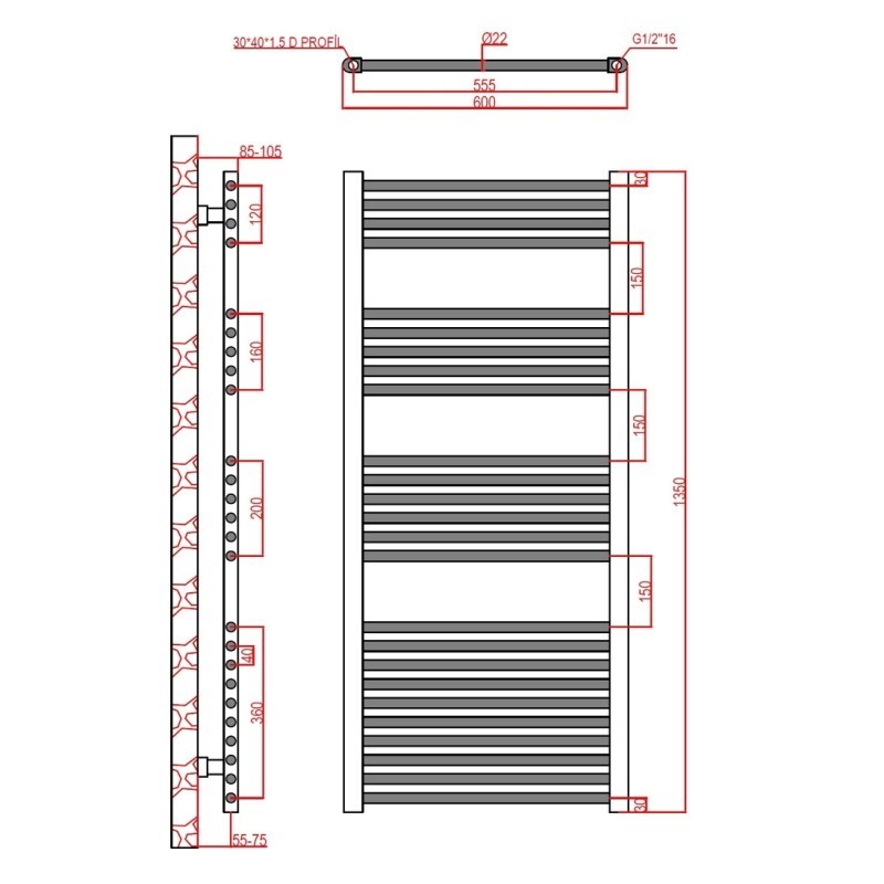 Frontline Flat Towel Rail 600x1350mm Chrome