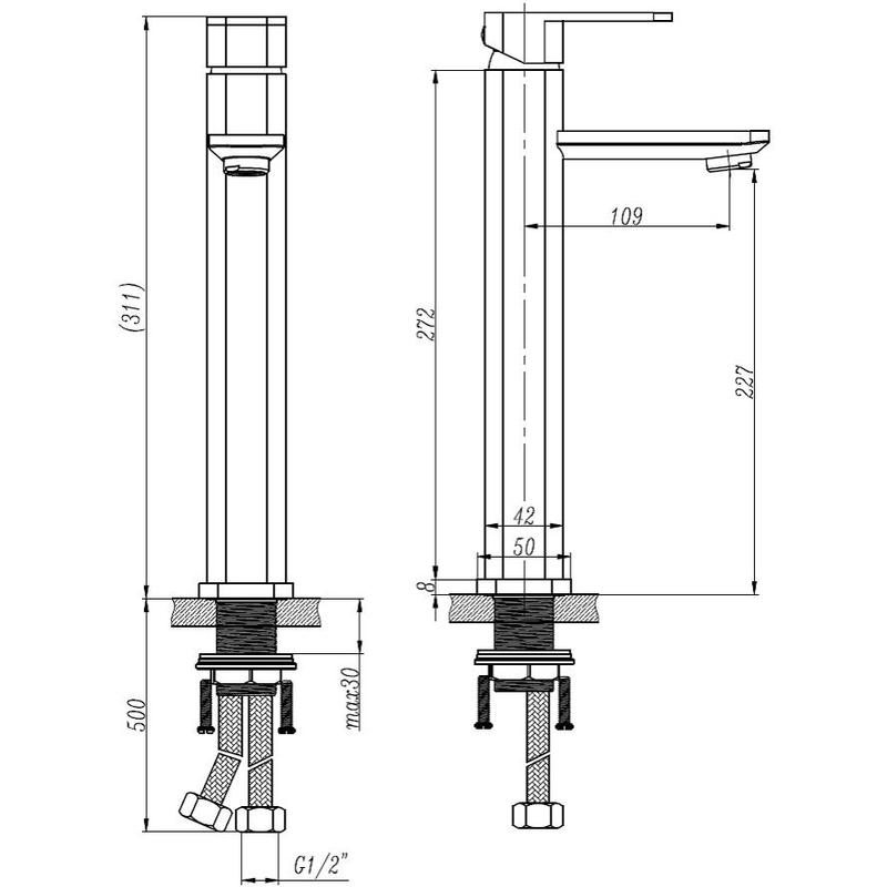 Aquaflow Medici Tall Mono Basin Mixer without Waste