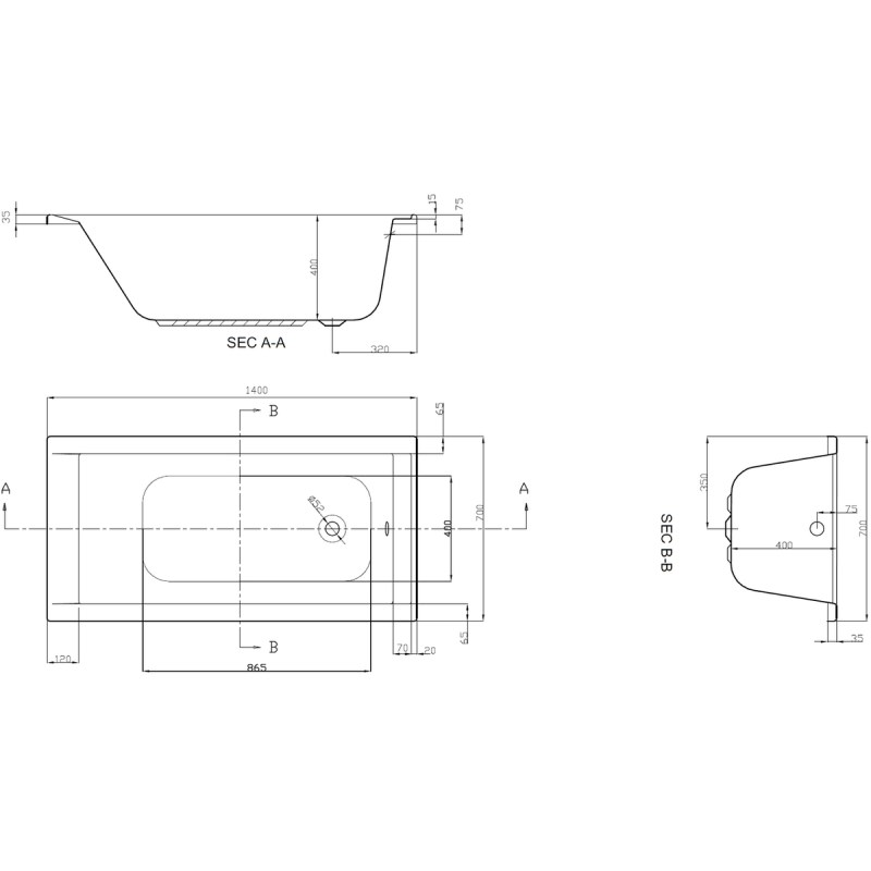 Aquabathe Linear 1400 x 700mm Bath
