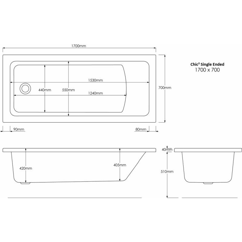 Aquabathe Chic2 1700x700mm Tungstenite Bath