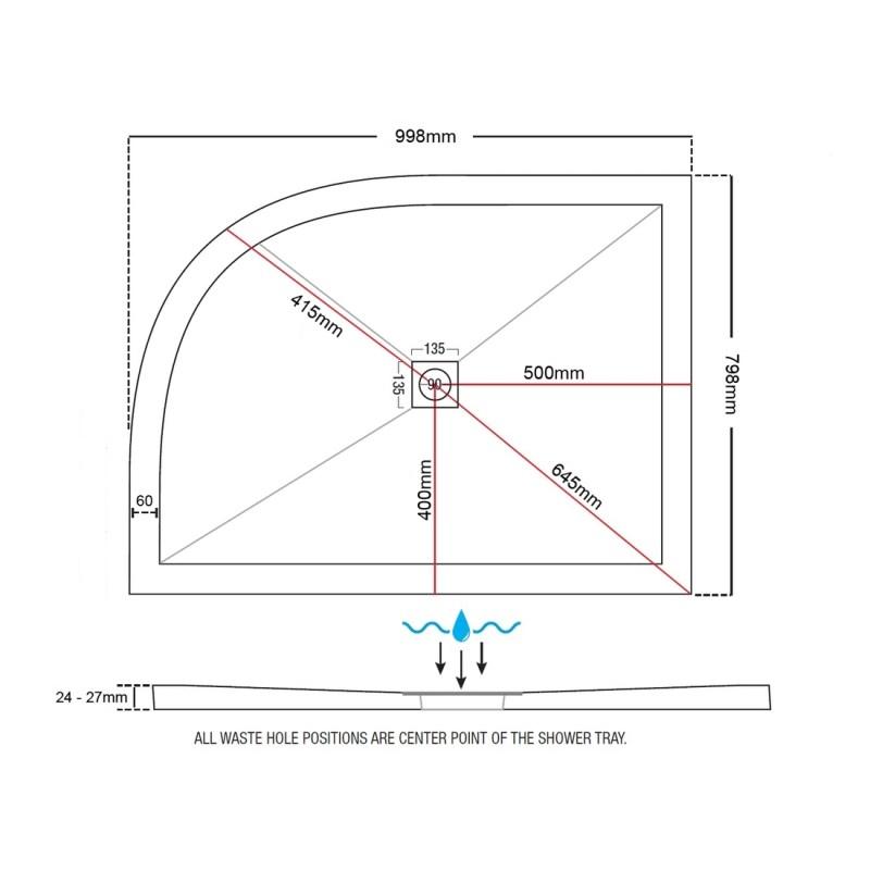 Aquaglass 1000x800mm Slimline Offset Quadrant Shower Tray RH