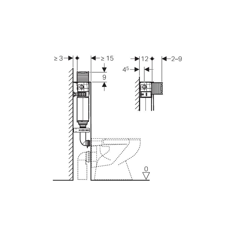 Geberit Omega Concealed Cistern 12cm, Height 98cm