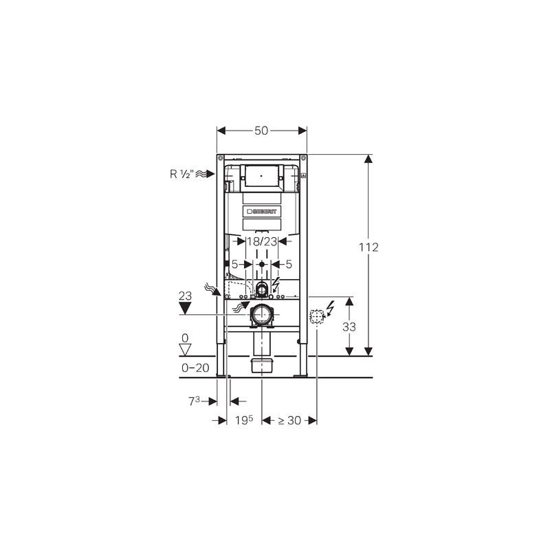 Geberit Duofix Frame with Omega Cistern 12cm, Height 112cm