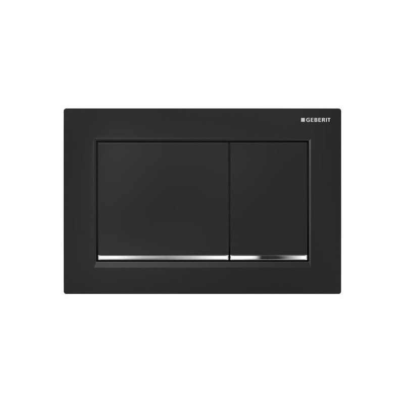 Geberit Omega30 Flush Plate Black & Gloss Chrome