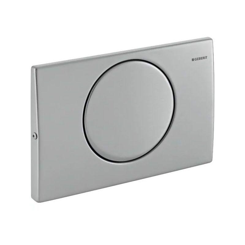 Geberit Delta15 Flush Plate, Single Flush, Screwable, Brushed Steel