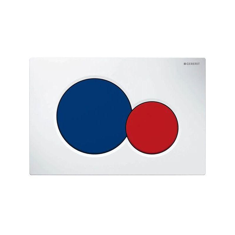 Geberit Sigma01 Flush Plate, Dual Flush, White-Blue-Red