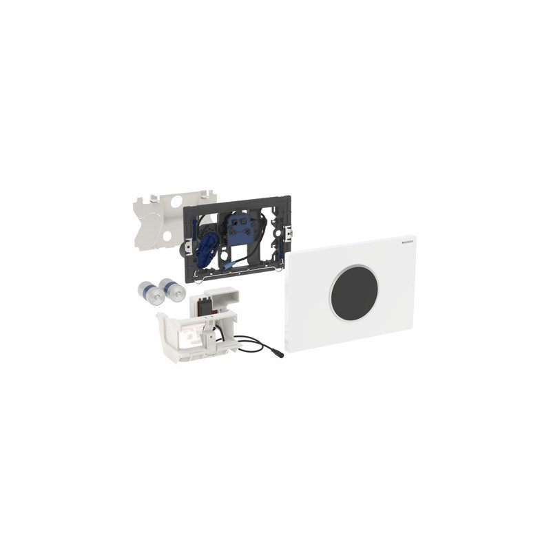Geberit Flush Plate Sigma10 Battery White / Bright Chrome