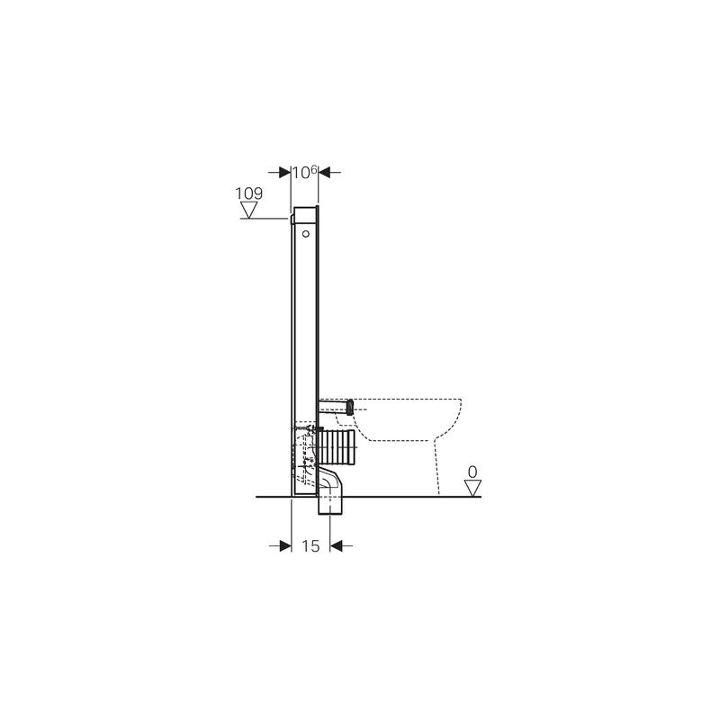 Geberit Monolith Module for Floor Standing WC 114cm White Glass