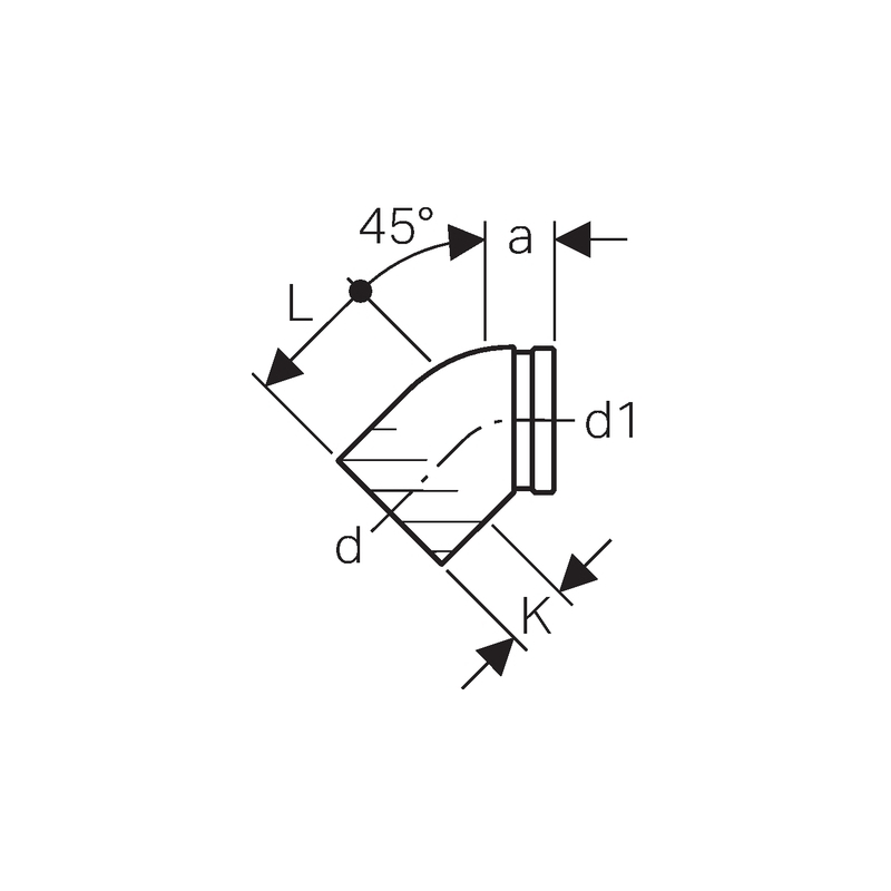 Geberit Duofix 45 Degree Bend Connector with Ring Seal