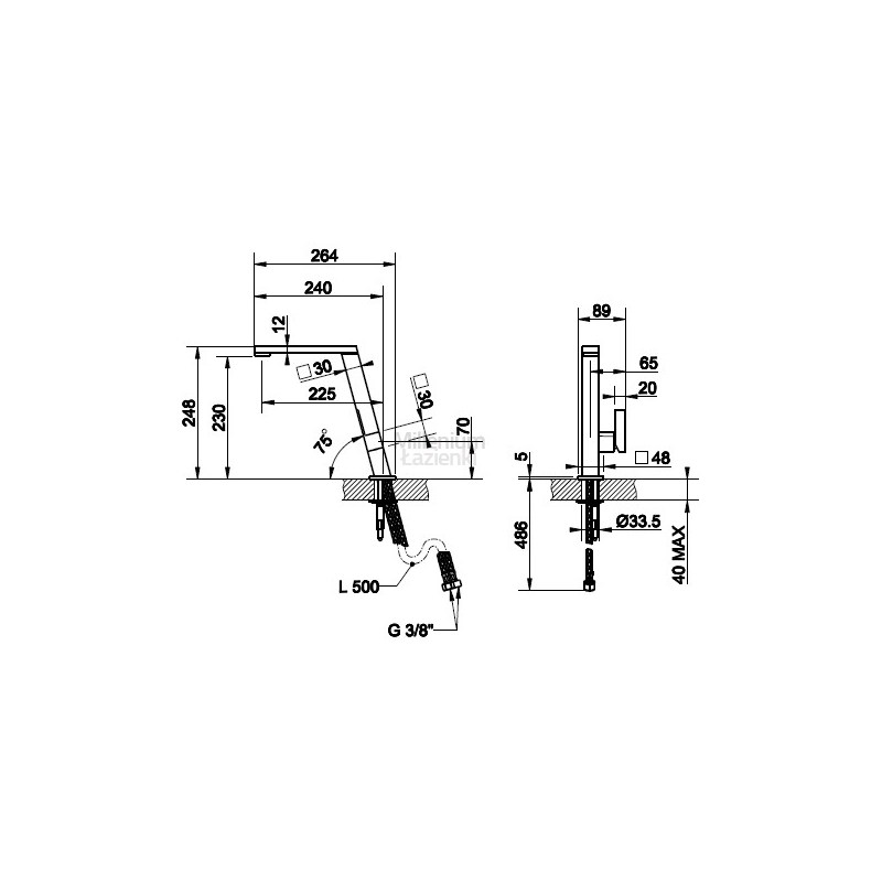 Gessi Incline Kitchen Sink Mixer 17047 Brushed Nickel