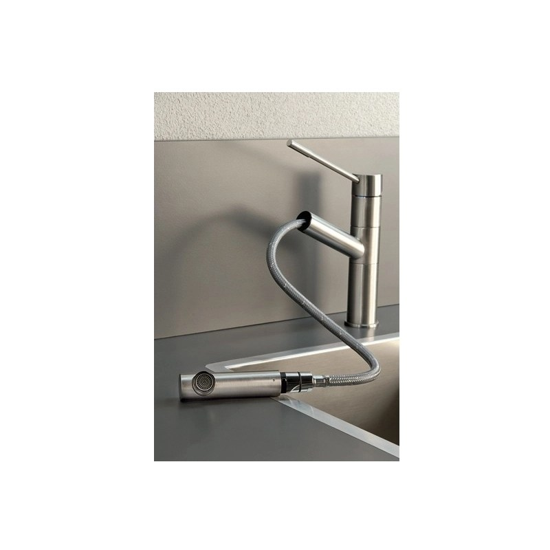 Gessi Oxygen Top Lever Sink Mixer with Pull-Out Brushed Nickel