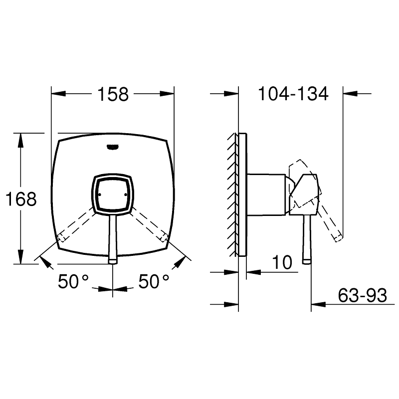 Grohe Grandera Single-Lever Shower Mixer Trim Chrome/Gold
