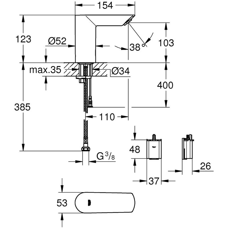 Grohe Bau Cosmopolitan E Infra-Red Electronic Basin Tap 36452 Chrome