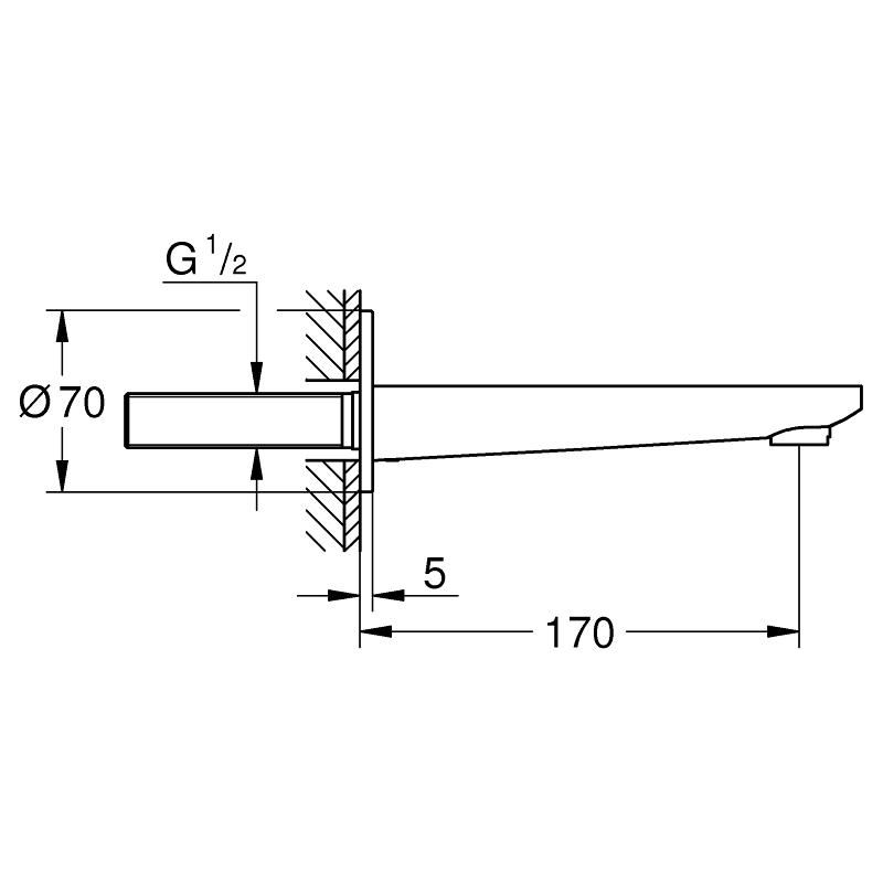 Grohe Lineare Bath Spout 13383 Supersteel