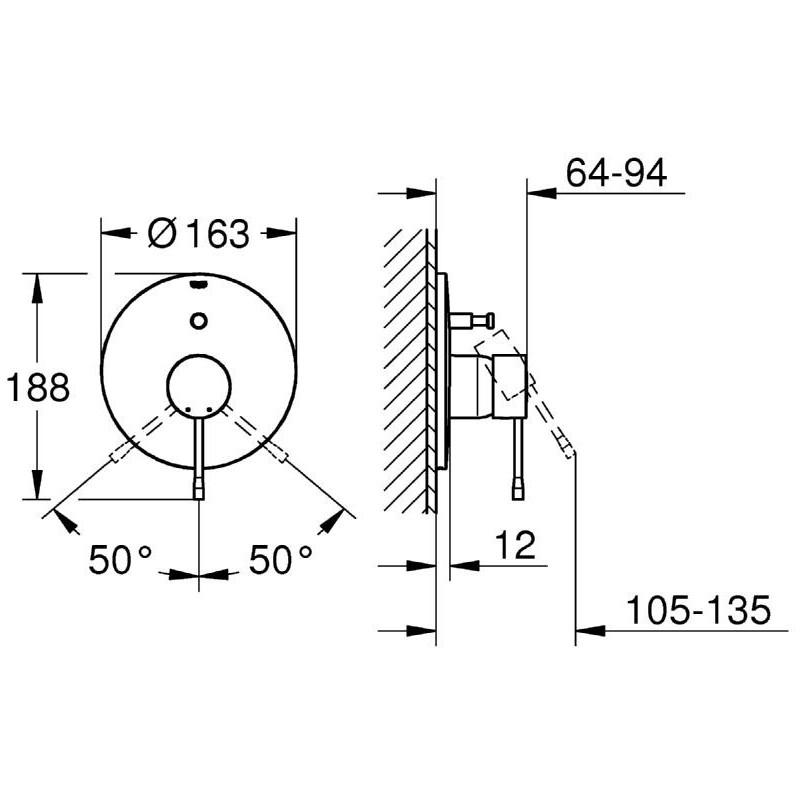 Grohe Essence Single-Lever Bath/Shower Mixer Trim 19285 Chrome