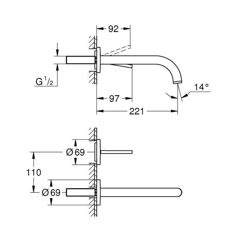 Grohe Atrio 2 Hole Basin Mixer S-Size 19918