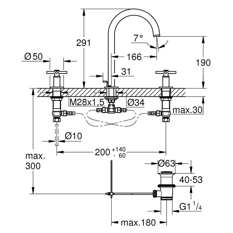 Grohe Atrio 3 Hole Basin Mixer M-Size 20008