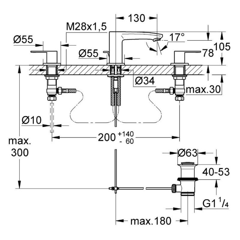Grohe Eurostyle Cosmopolitan 3-Hole Basin Mixer Small 20208