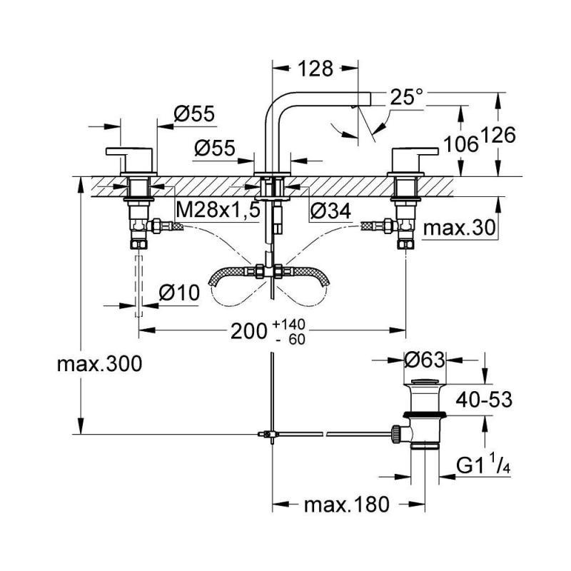 Grohe Lineare 3 Hole Basin Mixer 20304