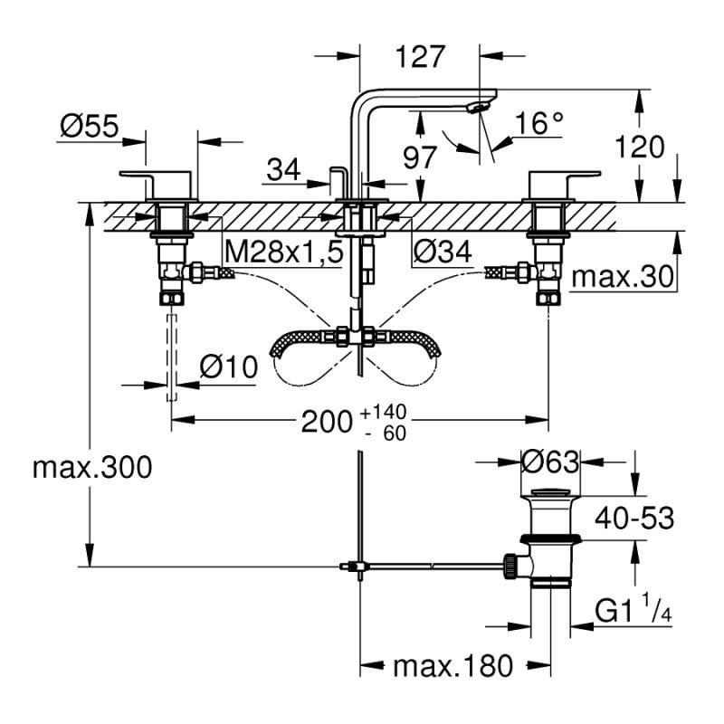 Grohe Lineare Three-Hole Basin Mixer M-Size 20304 Chrome