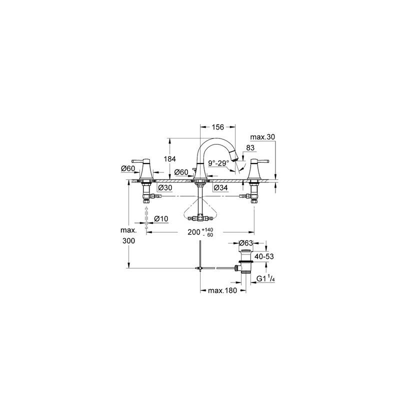 """Grohe Grandera 3-Hole Basin Mixer 1/2"""" Small 20417 Chrome/Gold"""