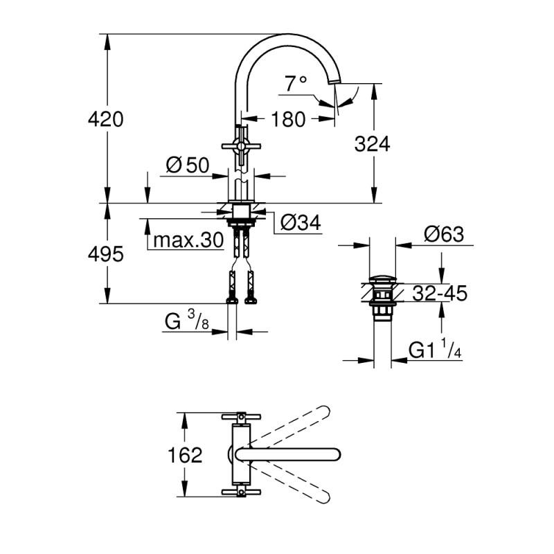 Grohe Atrio Cross Handle Basin Mixer XL-Size 21044