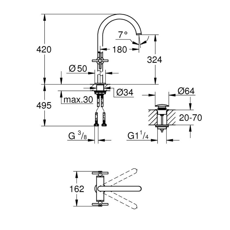 Grohe Atrio Cross Handle Basin Mixer XL-Size 21044 Supersteel