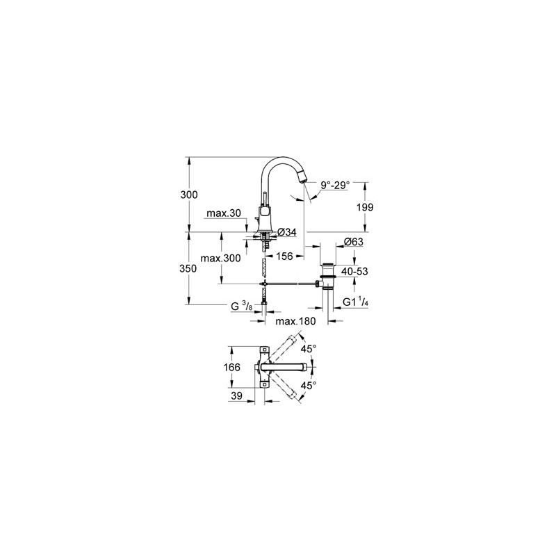 "Grohe Grandera Mono Basin Mixer 1/2"" Large 21107 Chrome/Gold"
