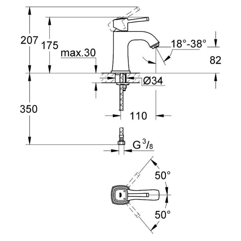 "Grohe Grandera Mono Basin Mixer 1/2"" Medium 23310 Chrome"
