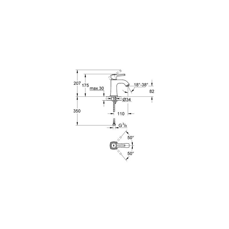 "Grohe Grandera Mono Basin Mixer 1/2"" Medium 23310 Chrome/Gold"
